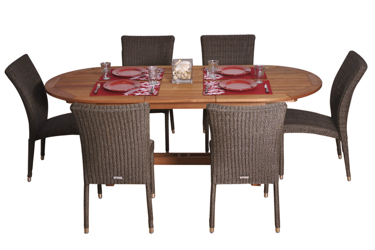 Lemans 7 Piece Eucalyptus/Wicker Extendable Oval Patio Dining Set , International Home Miami- grayburd