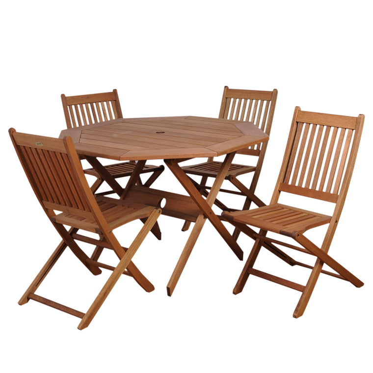 Milano Eucalyptus Octogonal 5 Piece Patio Dining Set , International Home Miami- grayburd
