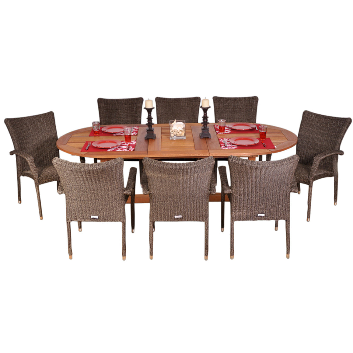 Rennaisance 9 Piece Eucalyptus/Wicker Extendable Oval Patio Dining Set , International Home Miami- grayburd