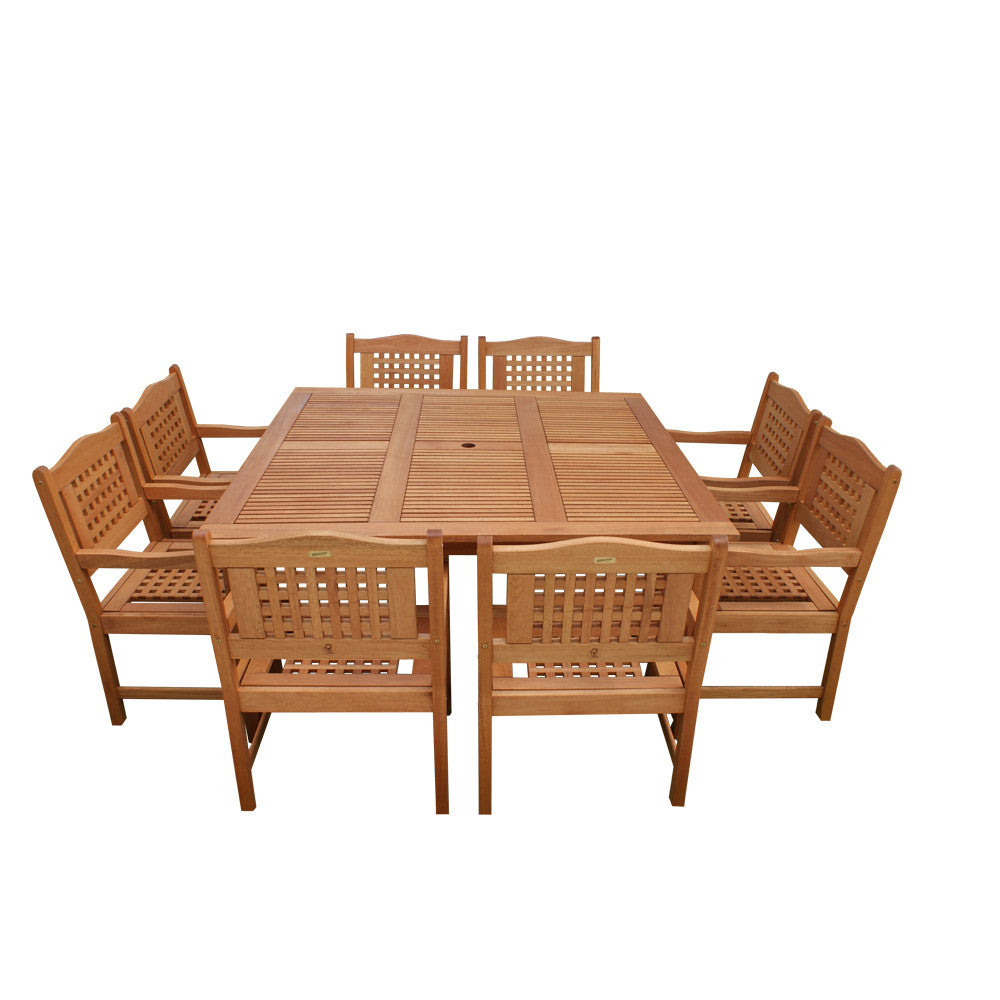 Milano Eucalyptus Square Porto 9 Piece Patio Dining Set , International Home Miami- grayburd