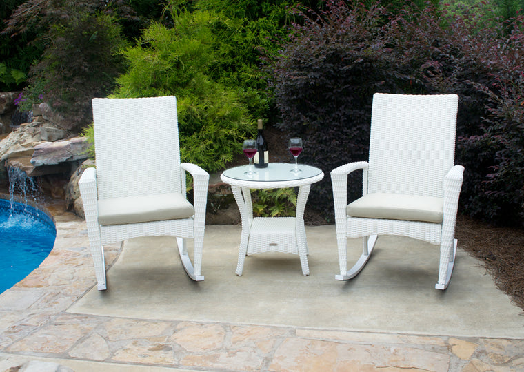Bayview 3 Piece Rocking Chair Set - Magnolia (2 rockers, 1 side table)