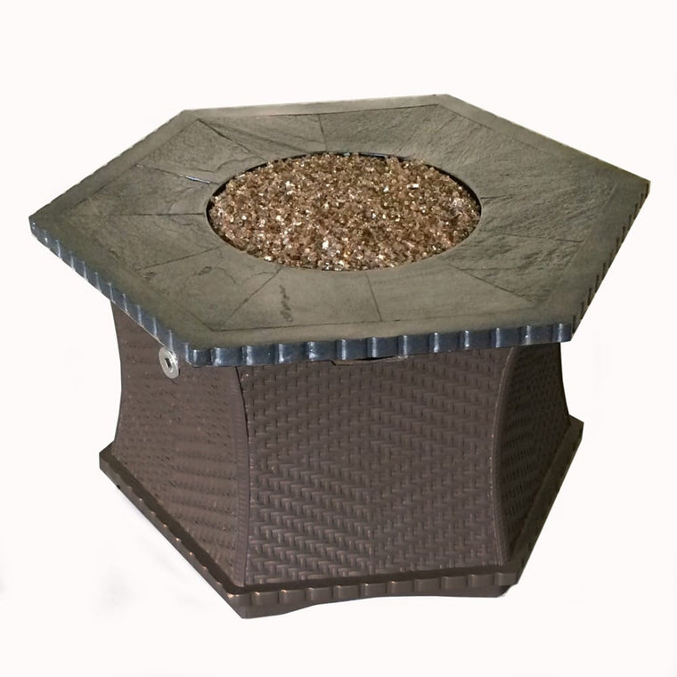 Cast Resin Hex Woven Look Chat Firepit - grayburd