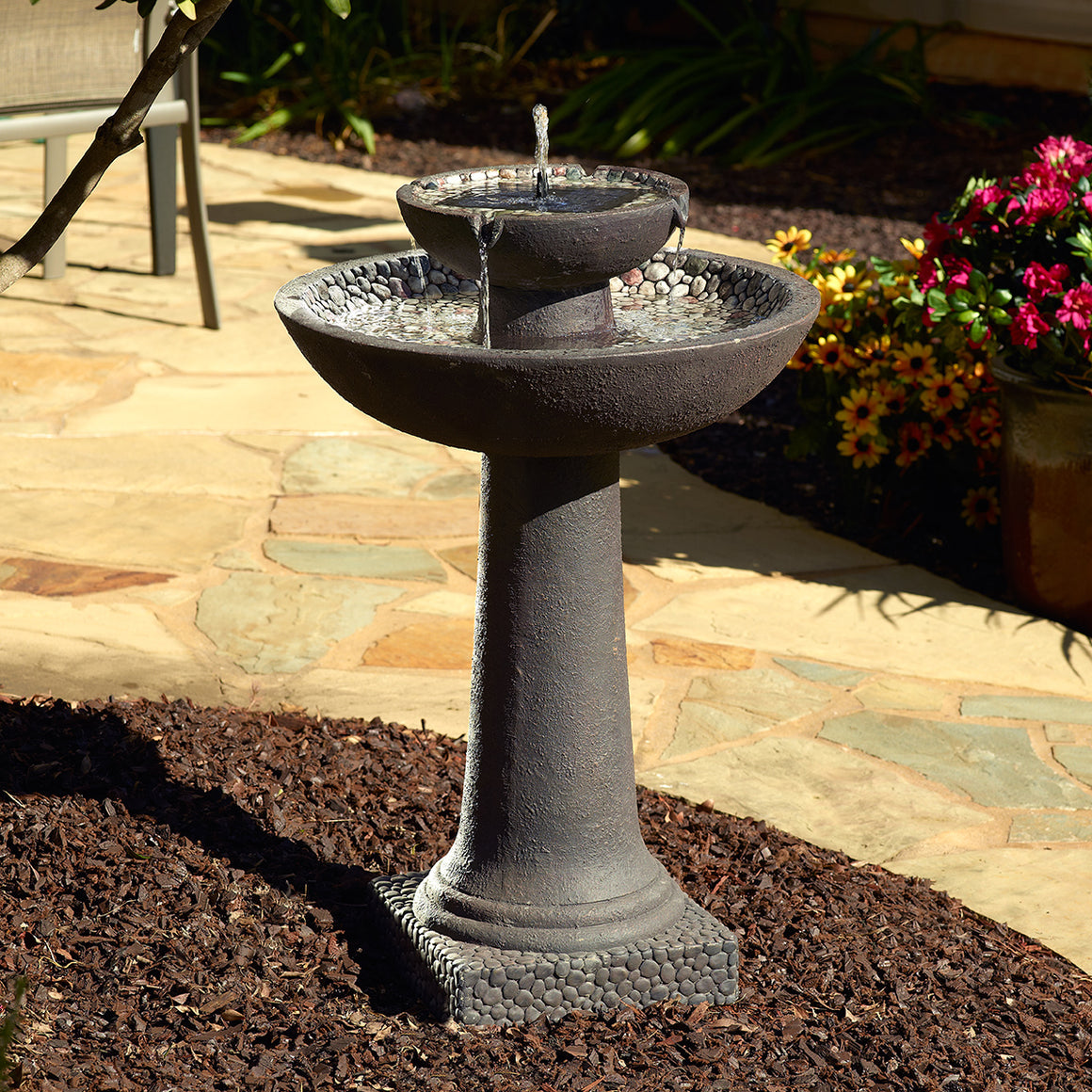 Riverstone Solar-on-Demand 2-Tier Fountain - Brown