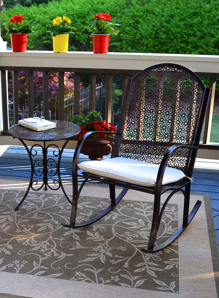 Garden Rocker - 2Pc Set (1 rocker, 1 side table)