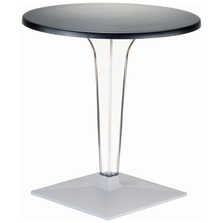 Ice Werzalit Top Round Dining Table with Transparent Base 28 inch - grayburd
