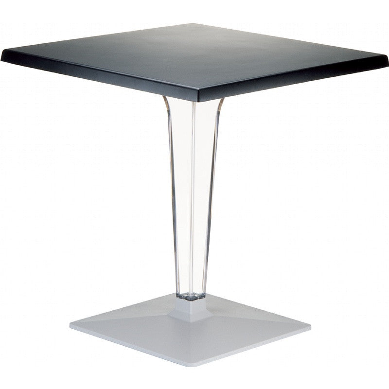 Ice Werzalit Top Square Dining Table with Transparent Base 28 inch - grayburd