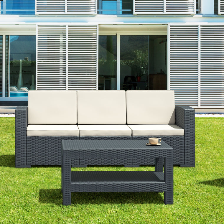 Monaco Resin Patio Sofa with Cushion - grayburd