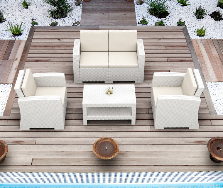 Monaco Resin Patio Seating Set 4 person 4 piece with Cushion - grayburd