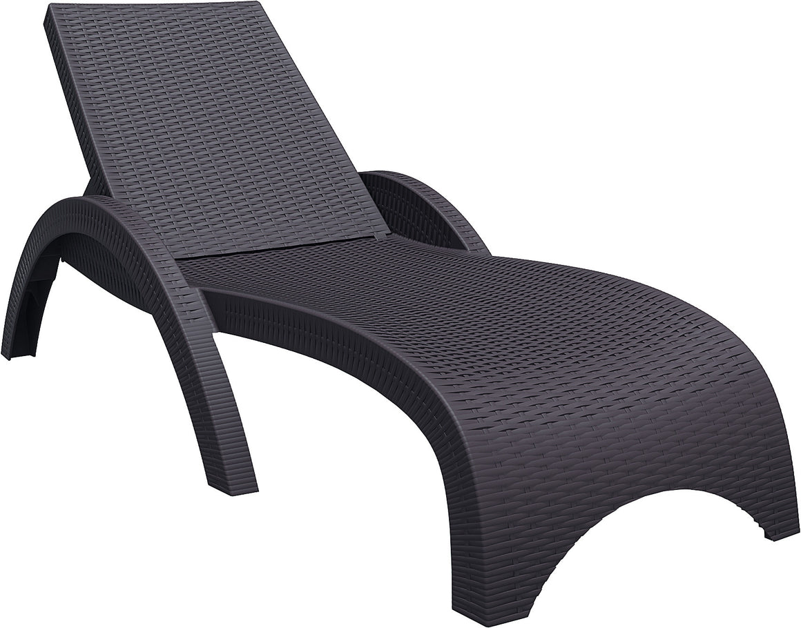 Miami Resin Wickerlook Chaise Lounge - grayburd