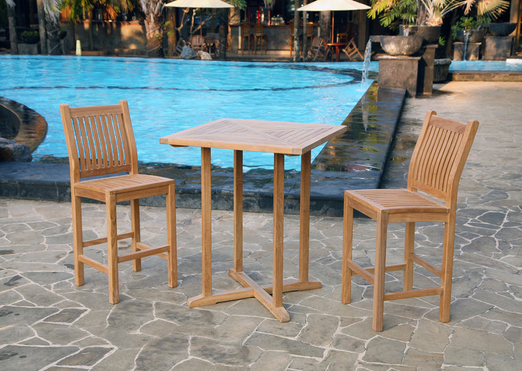 Teak 3Pc Bar Set (2 chairs, 1 table)