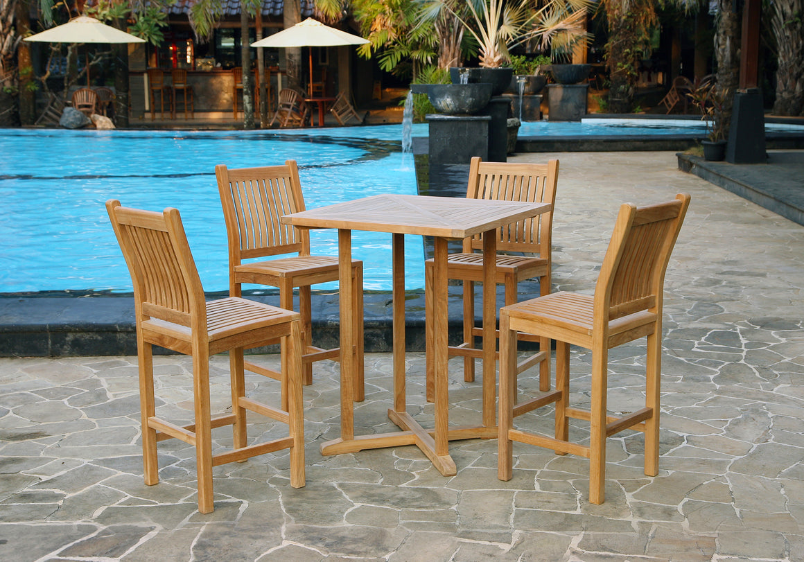 Teak 5Pc Bar Set (4 chairs, 1 table)