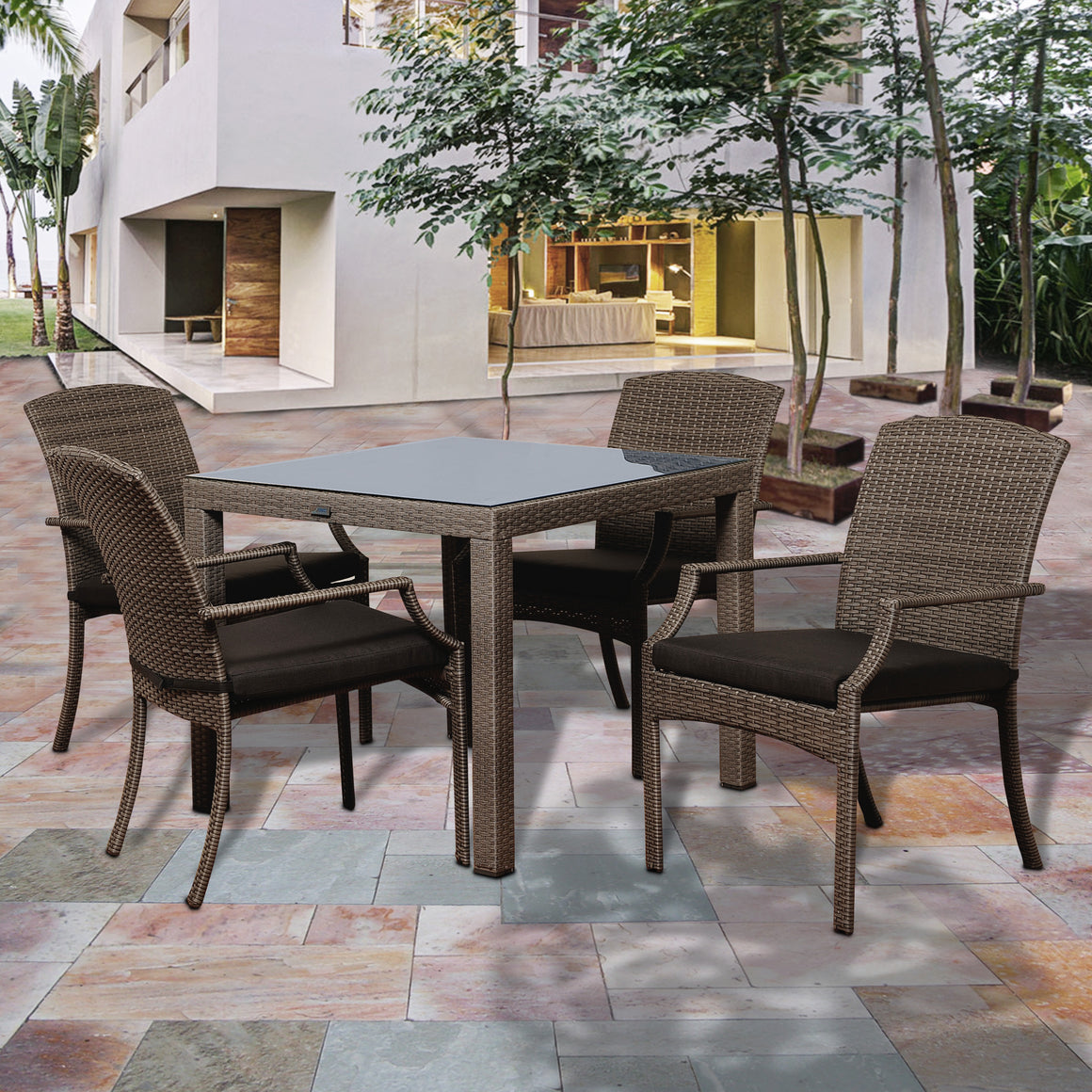 Rolland 5 Piece Grey Synthetic Wicker Square Patio Dining Set , International Home Miami- grayburd