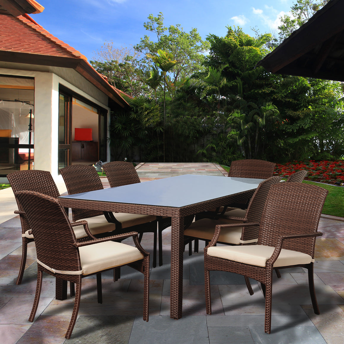 Rolland 8 Piece Brown Synthetic Wicker Rectangular Patio Dining Set , International Home Miami- grayburd