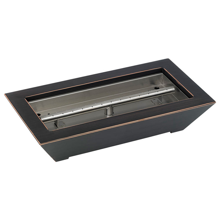 American Fire Glass - Fireplace Burner Pan Bronze Oiled Rubbed Paramount , American Fire Glass- grayburd