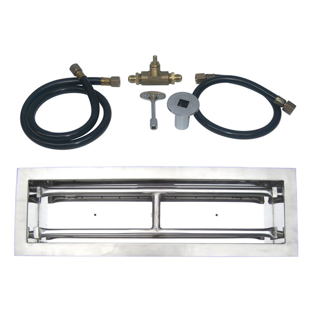 36 inch Stainless Steel Drop In Rectangular Burner Kit NG - grayburd