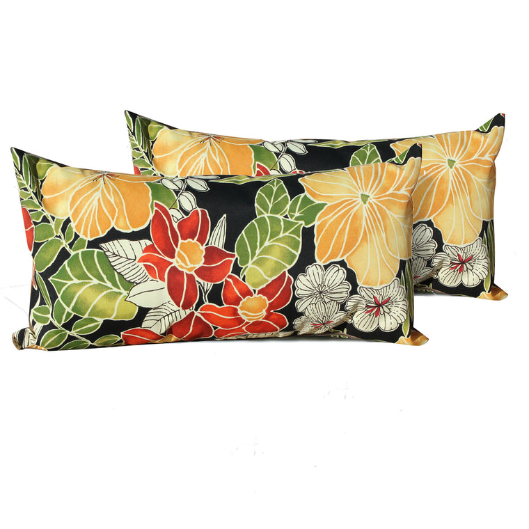 Black Floral Outdoor Throw Pillows Rectangle Set of 2 , TK Classics- grayburd