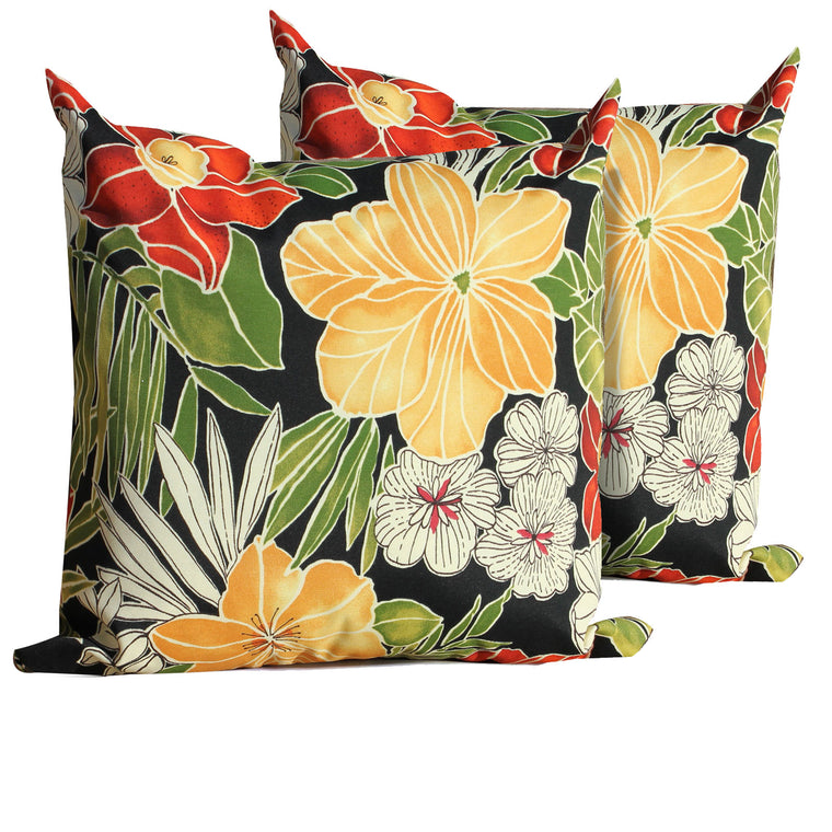 Black Floral Outdoor Throw Pillows Square Set of 2 , TK Classics- grayburd