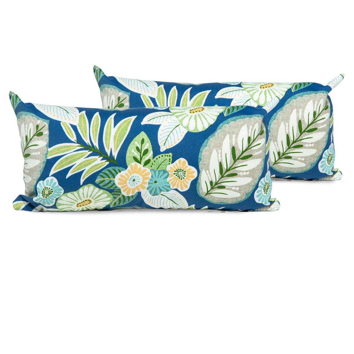 Blue Tropical Floral Outdoor Throw Pillows Rectangle Set of 2 , TK Classics- grayburd