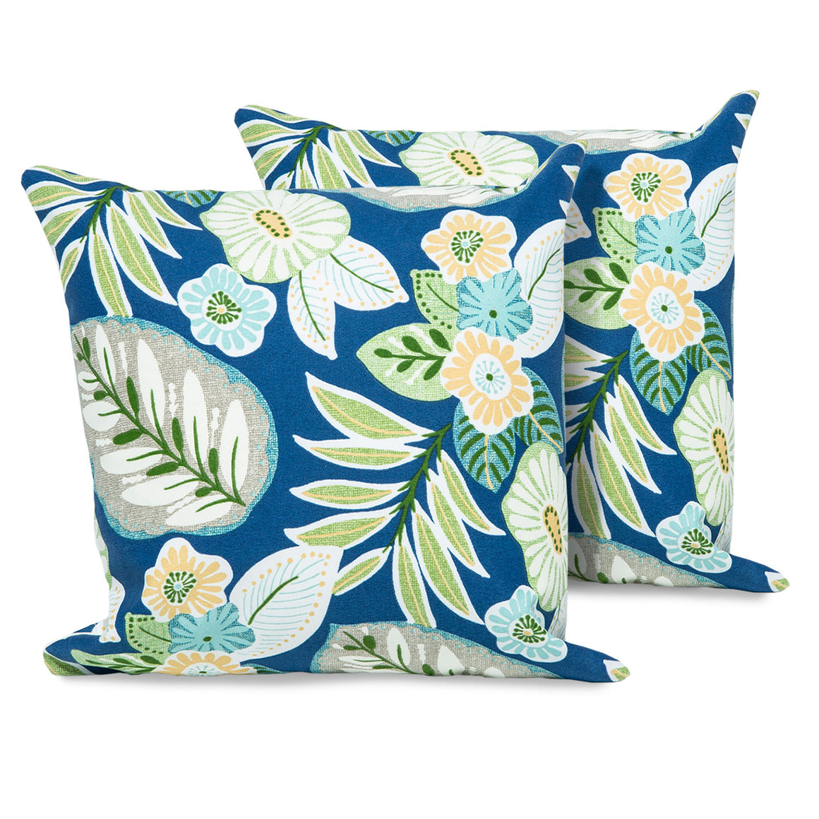 Blue Tropical Floral Outdoor Throw Pillows Square Set of 2 , TK Classics- grayburd