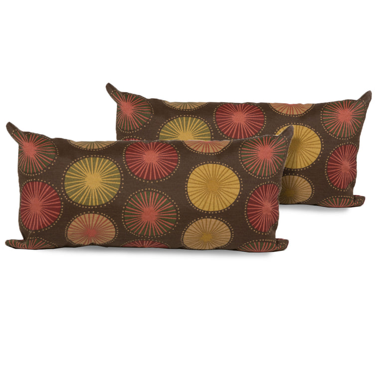 Sunburst Outdoor Throw Pillows Rectangle Set of 2 , TK Classics- grayburd