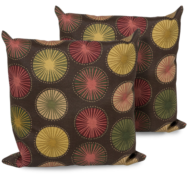 Sunburst Outdoor Throw Pillows Square Set of 2 , TK Classics- grayburd