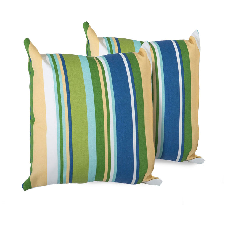 Blue Stripe Outdoor Throw Pillows Square Set of 2 , TK Classics- grayburd