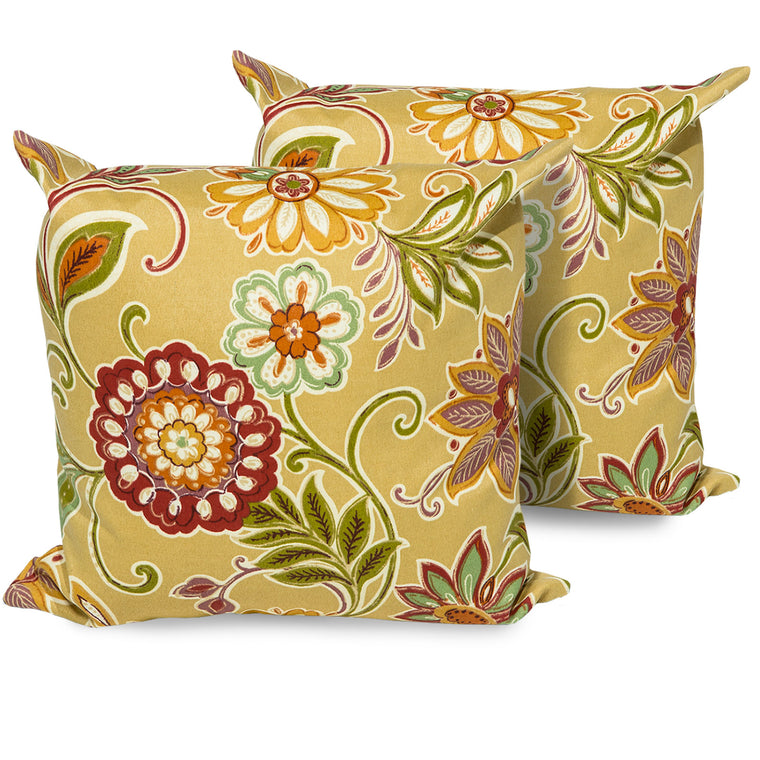 Golden Floral Outdoor Throw Pillows Square Set of 2 , TK Classics- grayburd
