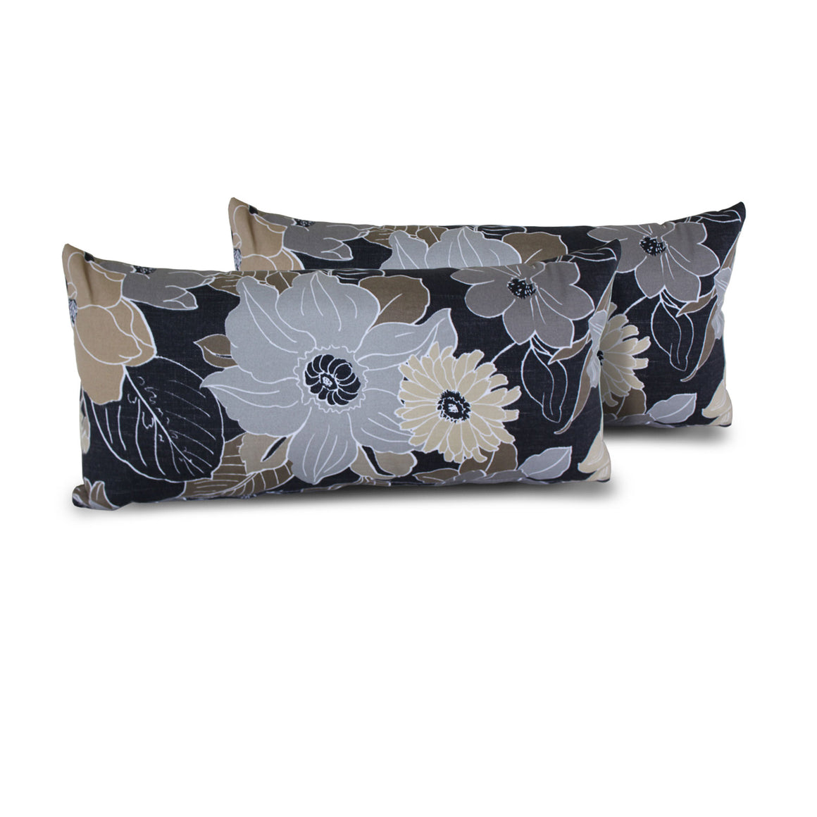 Grey Floral Outdoor Throw Pillows Rectangle Set of 2 , TK Classics- grayburd