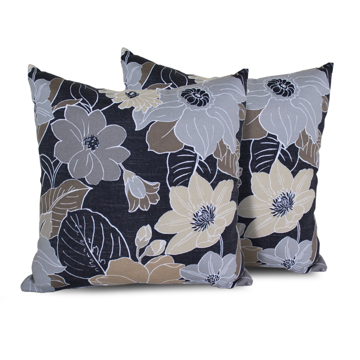 Grey Floral Outdoor Throw Pillows Square Set of 2 , TK Classics- grayburd