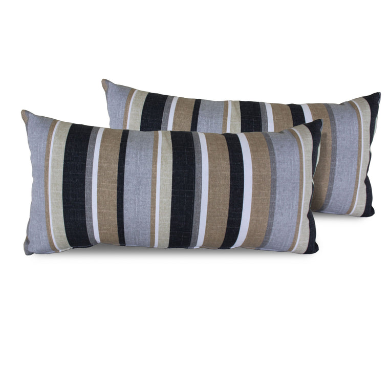 Grey Stripe Outdoor Throw Pillows Rectangle Set of 2 , TK Classics- grayburd