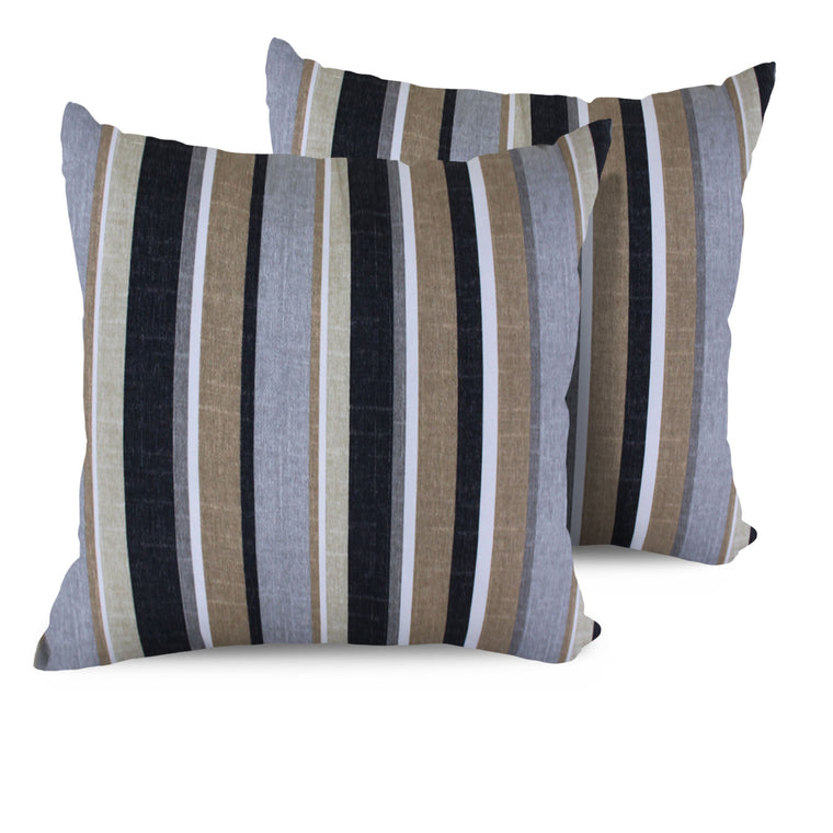 Grey Stripe Outdoor Throw Pillows Square Set of 2 , TK Classics- grayburd