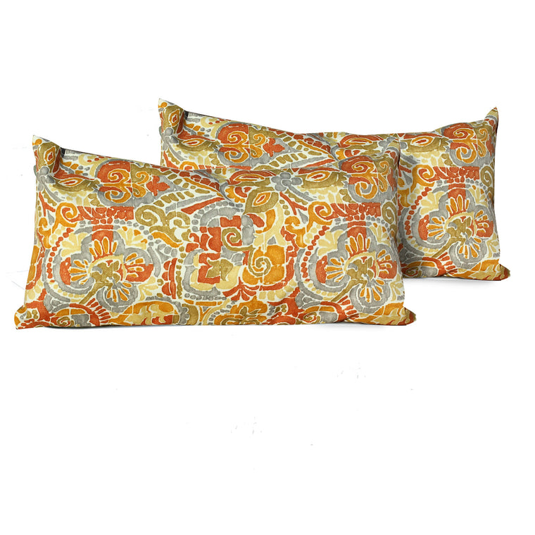 Marigold Outdoor Throw Pillows Rectangle Set of 2 , TK Classics- grayburd
