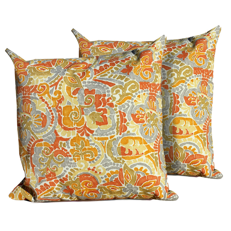 Marigold Outdoor Throw Pillows Square Set of 2 , TK Classics- grayburd