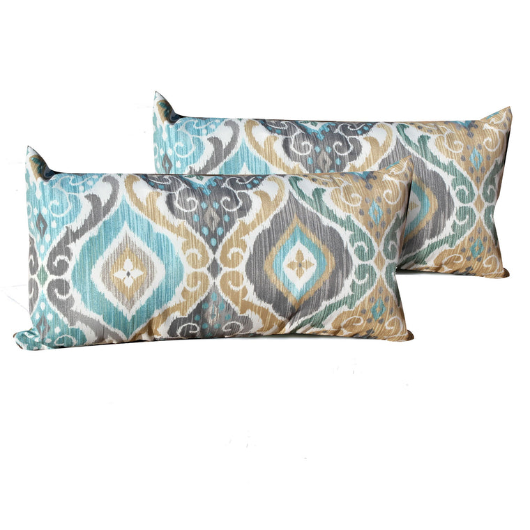 Persian Mist Outdoor Throw Pillows Rectangle Set of 2 , TK Classics- grayburd