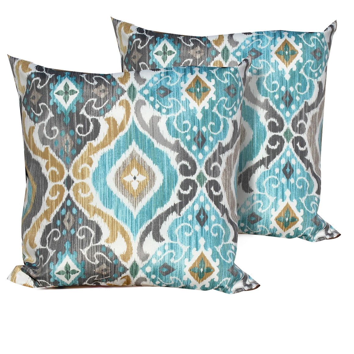Persian Mist Outdoor Throw Pillows Square Set of 2 , TK Classics- grayburd