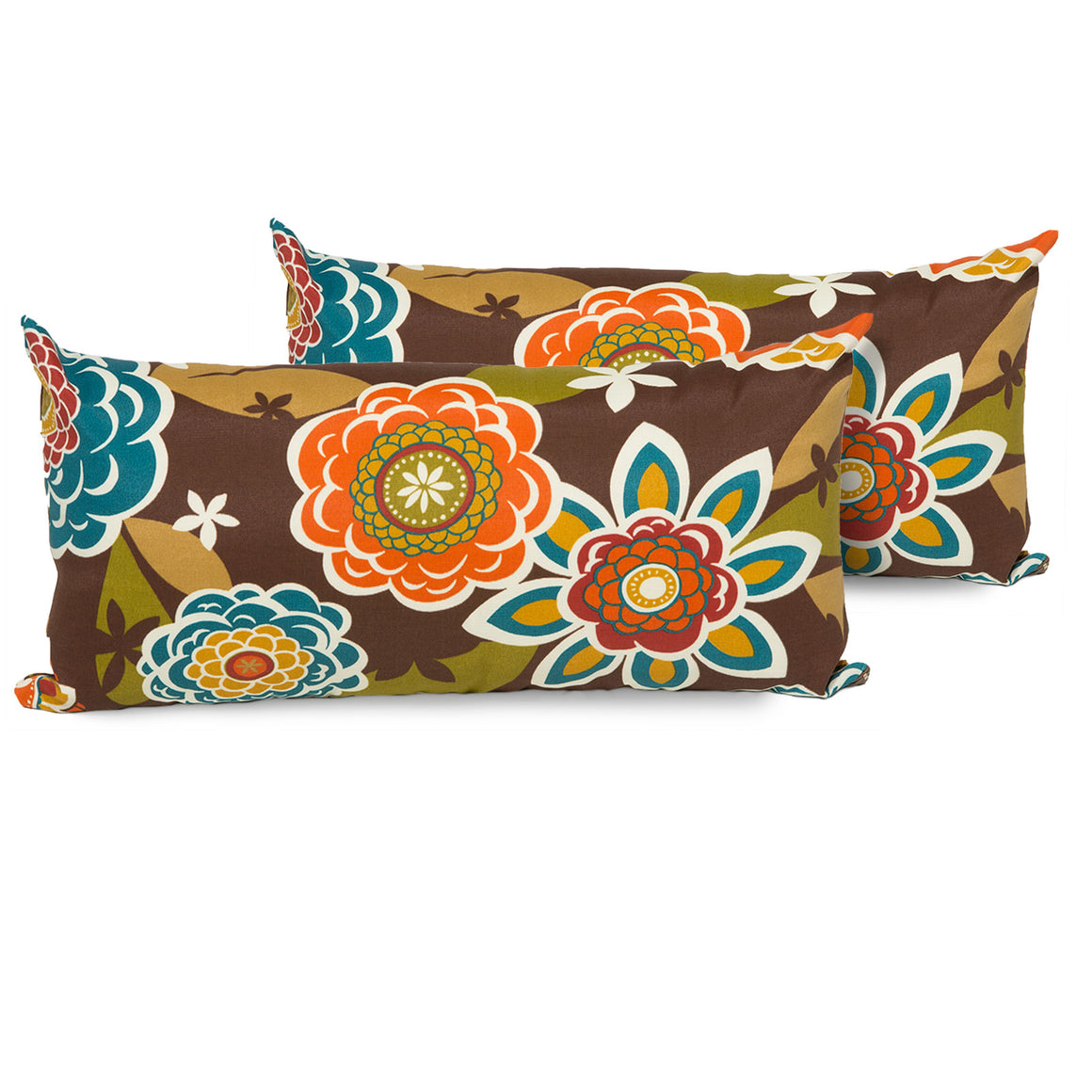 Retro Floral Outdoor Throw Pillows Rectangle Set of 2 , TK Classics- grayburd