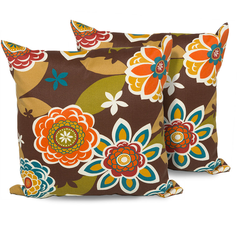 Retro Floral Outdoor Throw Pillows Square Set of 2 , TK Classics- grayburd