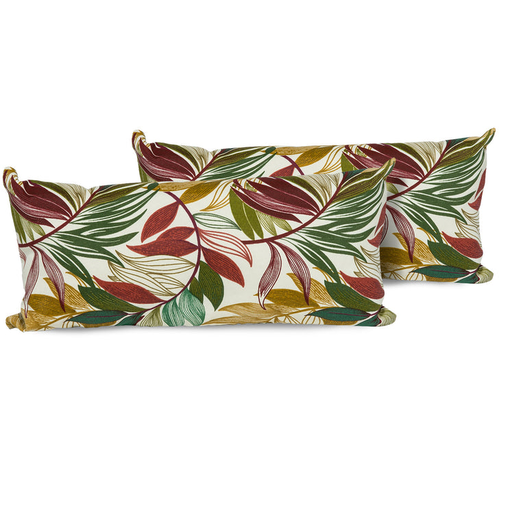 Sesame Palm Outdoor Throw Pillows Rectangle Set of 2 , TK Classics- grayburd