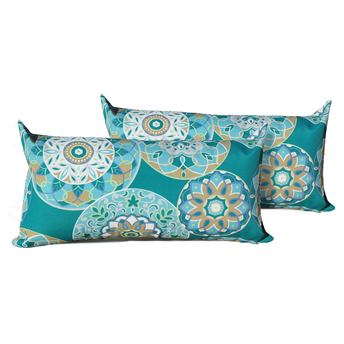 Teal Sundial Outdoor Throw Pillows Rectangle Set of 2 , TK Classics- grayburd