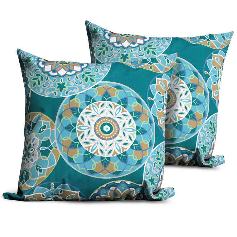 Teal Sundial Outdoor Throw Pillows Square Set of 2 , TK Classics- grayburd