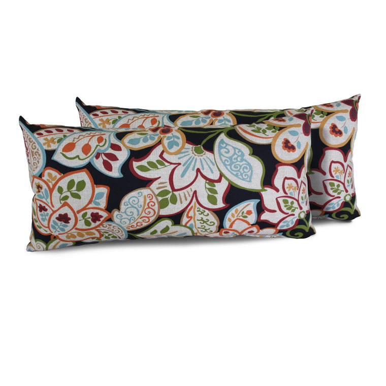 Villa Floral Outdoor Throw Pillows Rectangle Set of 2 , TK Classics- grayburd