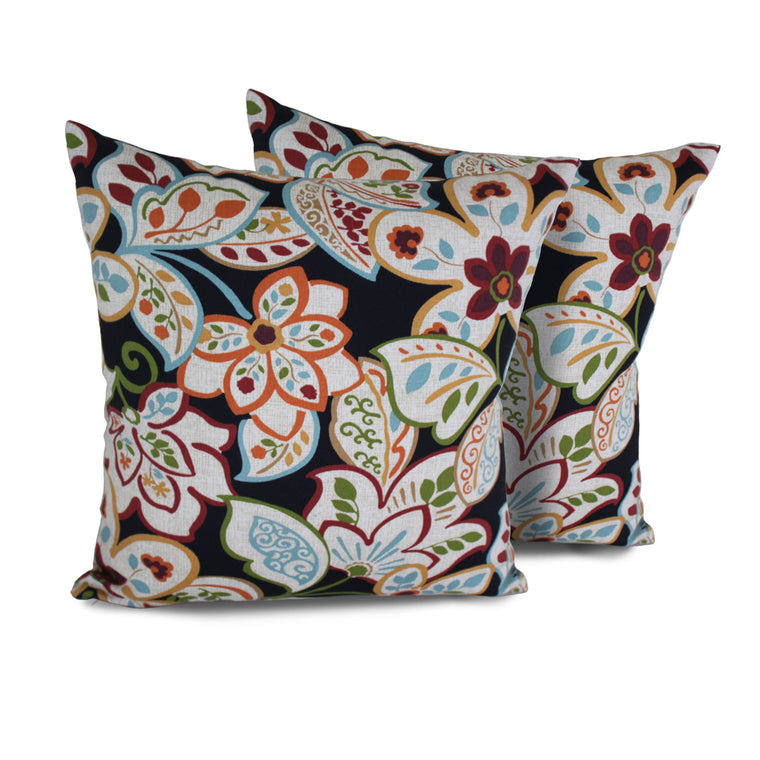 Villa Floral Outdoor Throw Pillows Square Set of 2 , TK Classics- grayburd