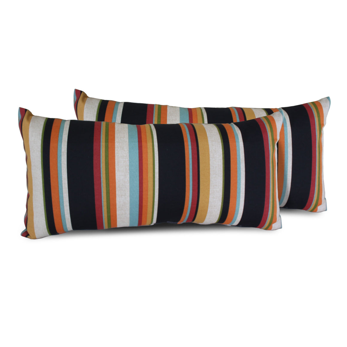 Villa Stripe Outdoor Throw Pillows Rectangle Set of 2 , TK Classics- grayburd