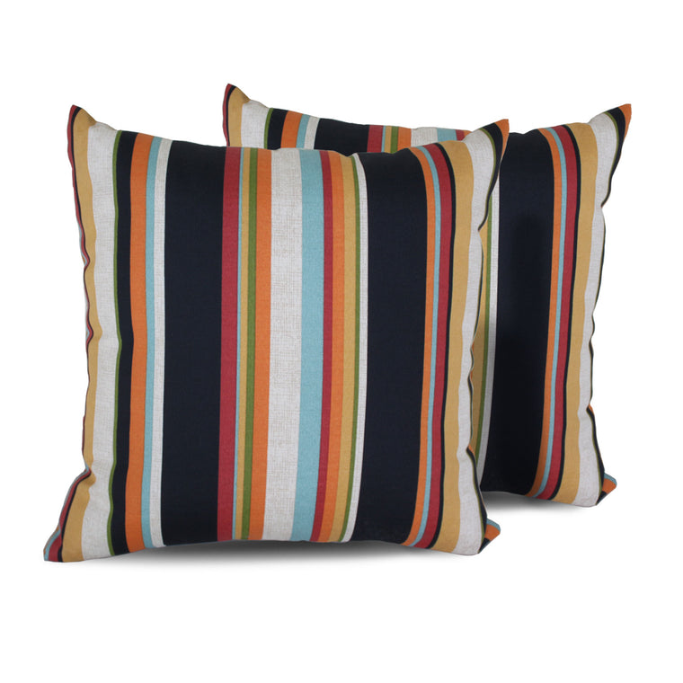 Villa Stripe Outdoor Throw Pillows Square Set of 2 , TK Classics- grayburd