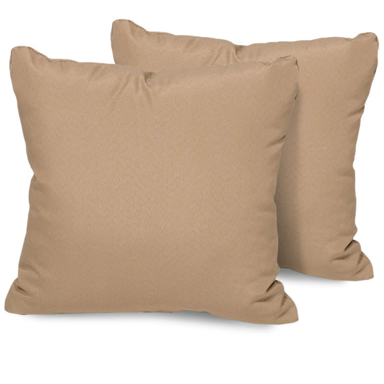 Wheat Outdoor Throw Pillows Square Set of 2 , TK Classics- grayburd