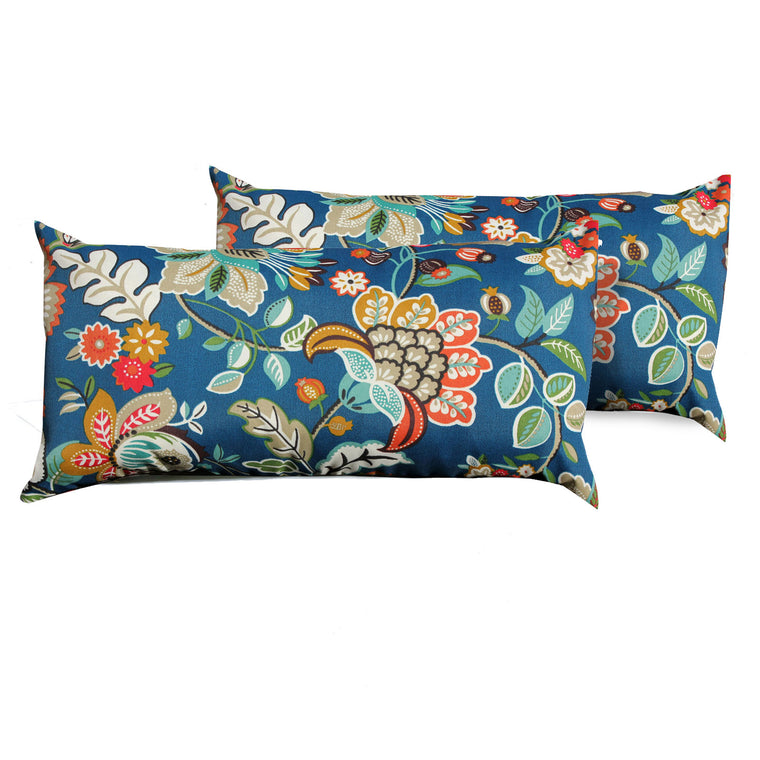 Wild Flower Outdoor Throw Pillows Rectangle Set of 2 , TK Classics- grayburd