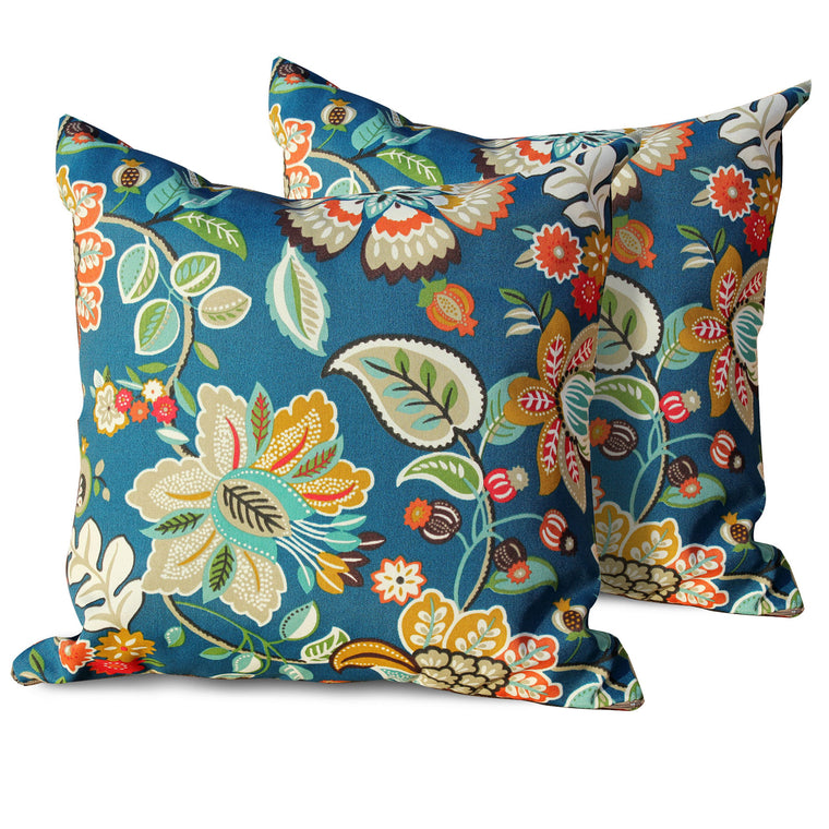 Wild Flower Outdoor Throw Pillows Square Set of 2 , TK Classics- grayburd