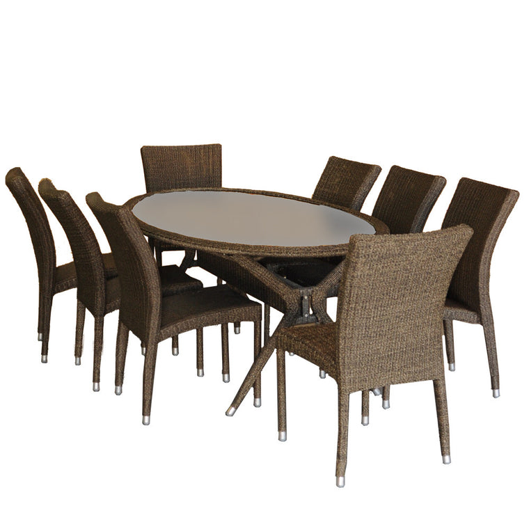 Bari 9 Piece Wicker Oval Patio Dining Set , International Home Miami- grayburd