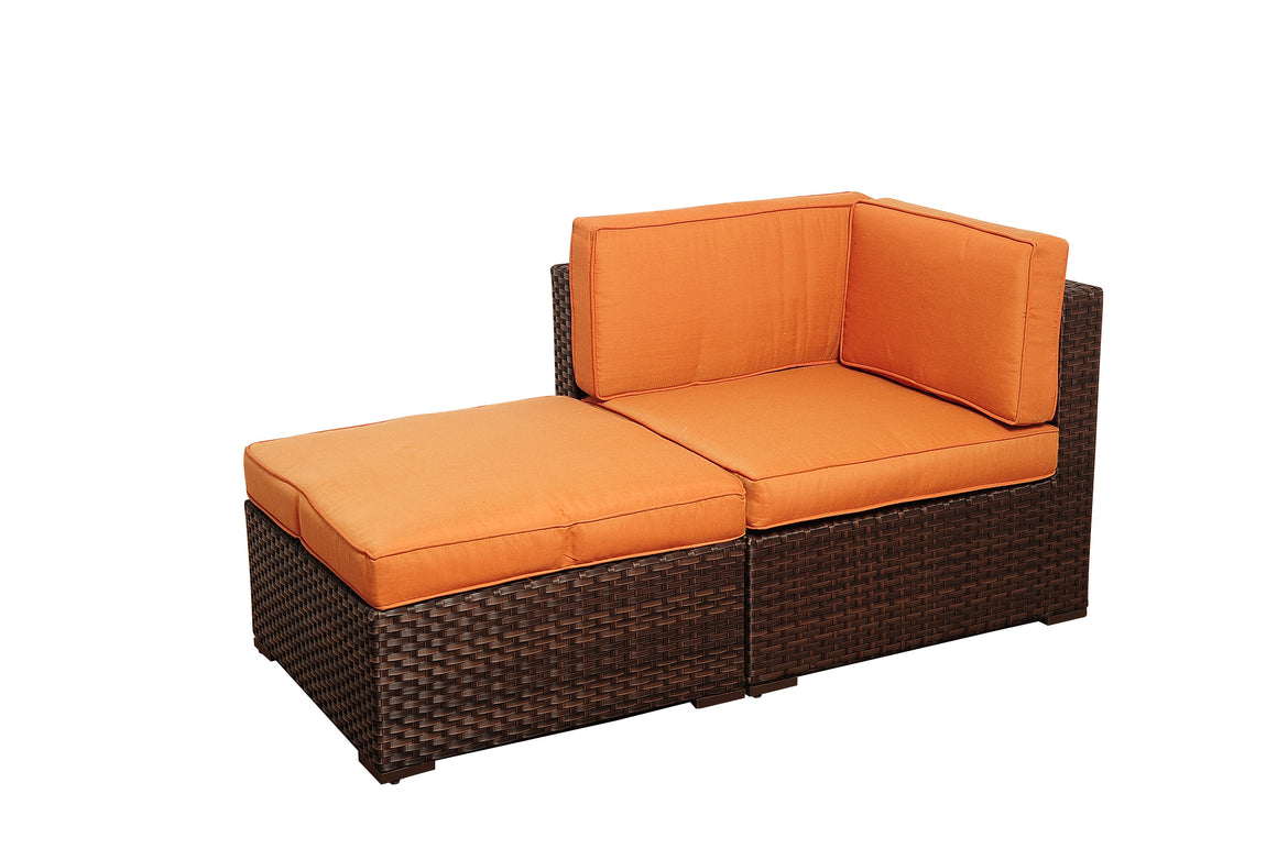 Bellagio 6 Piece Wicker Patio Sectional Set with Orange Cushions , International Home Miami- grayburd