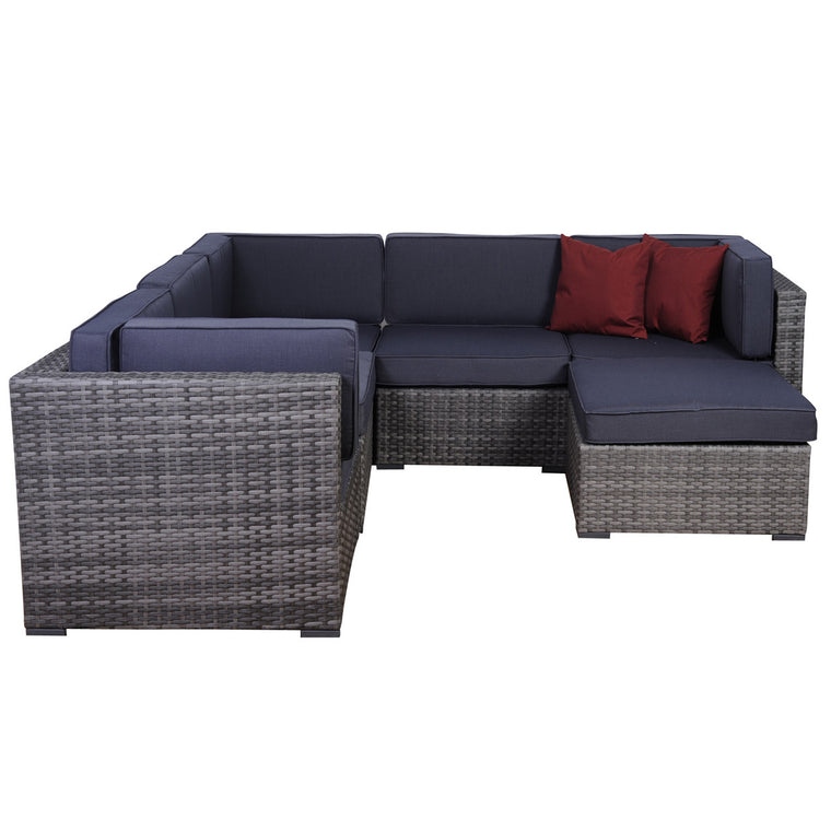 Bellagio 6 pc Grey Wicker Seating Set , International Home Miami- grayburd